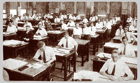 The University Main Building. Architect Students In Drafting ...